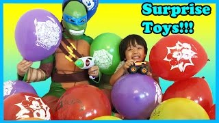 TOYS SURPRISE Giant Balloons Pop Challenge Ninja Turtle kids Video Ryan ToysReview