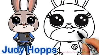 How to Draw Disney Zootopia Rabbit Judy Hopps Step by step Cute