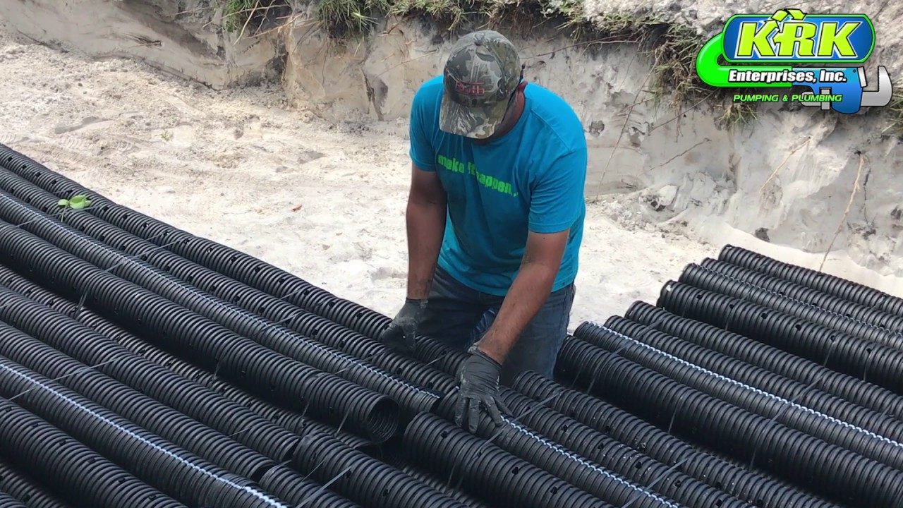 Drain Field Installation by KRK Pumping and Plumbing - YouTube