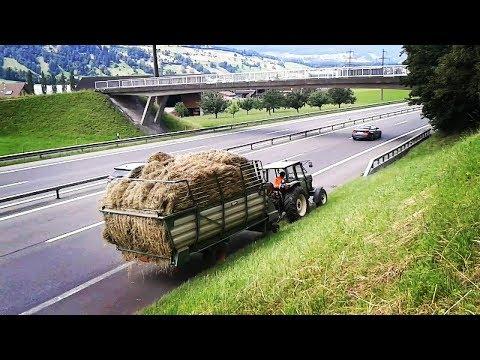 Mit dem Traktor auf der Autobahn 5.Schnitt ¦ Hürlimann ¦ Agrartechnik Schweiz ¦