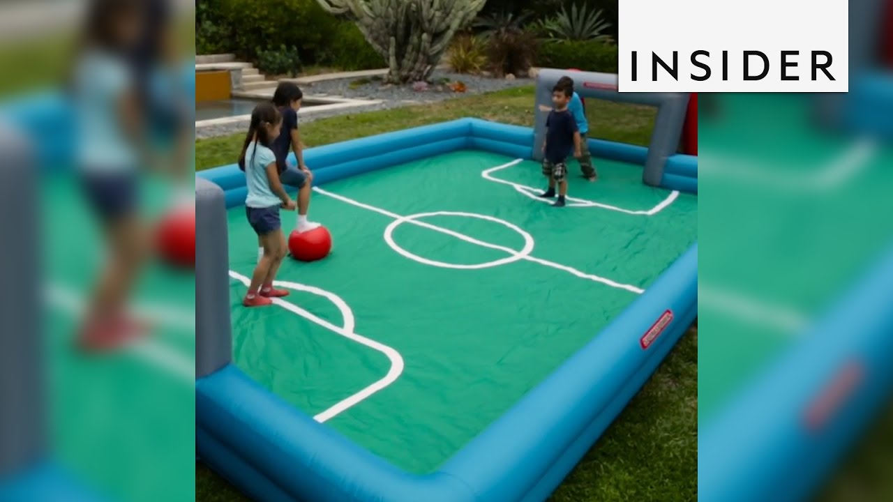 inflatable sports court creates instant backyard fun youtube