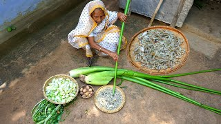 Chingri Bata Kochur Shaag Recipe prepared by Grandmother   Village Food   villfood