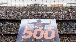بالفيديو.. ''شكرًا ليو 500''.. احتفال خاص من جماهير برشلونة بميسي