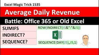 EMT 1535: Average Daily Revenue: SUMIFS with INDIRECT? or SEQUENCE? Inside AVERAGE