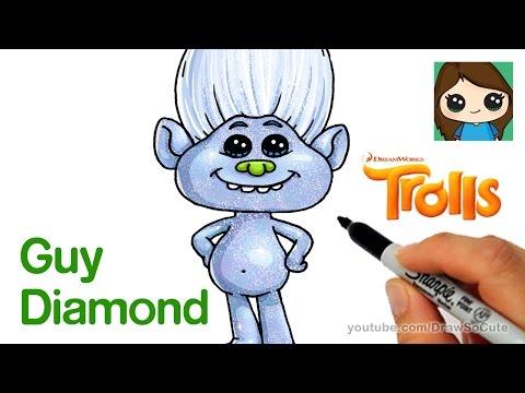 How To Draw Guy Diamond From Trolls Movie