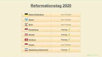 Reformationstag 2020 - Datum - Feiertage Deutschland 2020