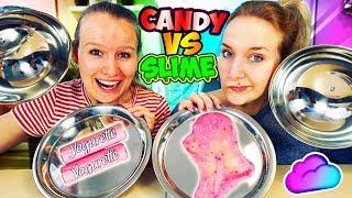SLIME vs. CANDY CHALLENGE | Können Kathi & Nina Süßigkeiten und Schleim erraten? Lecker vs. Eklig
