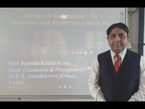 Articles of Association in Hindi as per ICA 2013: Its Alterations & Restrictions (Lecture 6 of 8)