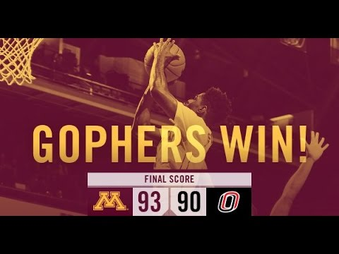 Highlights: Gopher Men's Hoops tops Nebraska-Omaha 93-90