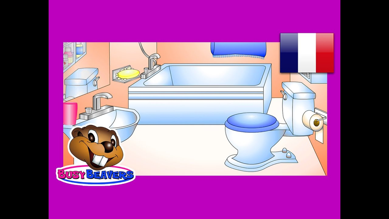 In The Bathroom French Lesson 12 Clip Learn Salle De Bain Words Easy Fran Ais Kids