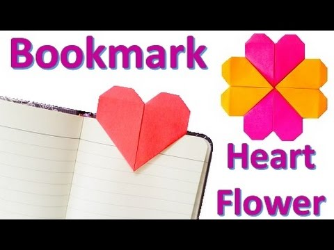 Origami HEART bookmark  HEART flower - YouTube