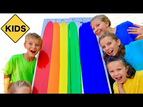 Thumbnail: Learn English Colors! Rainbow Paint Race with Sign Post Kids!