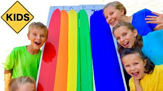 Learn English Colors! Rainbow Paint Race with Sign Post Kids!
