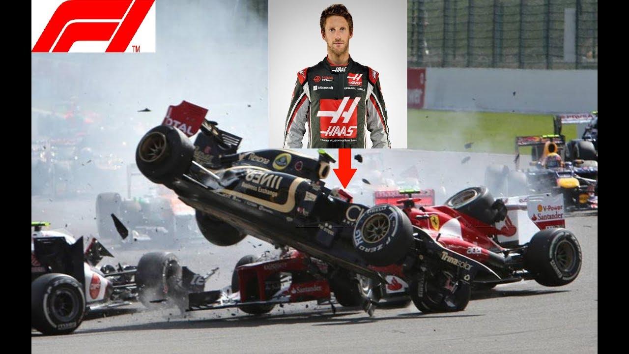 Crash Compilation Romain Grosjean Youtube