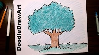 Drawing: How To Draw Cartoon Tree - Step by Step