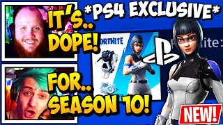 "Streamers React to 'NEW' ""SEASON 10"" PS4 [Exclusive] Skin In FORTNITE!"