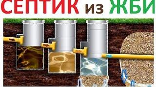 Септик из бетонных колец(В этом видио показана схема как сделать септик из бетонных колец. На видео так же есть фрагмент построенног..., 2015-06-16T07:33:41.000Z)