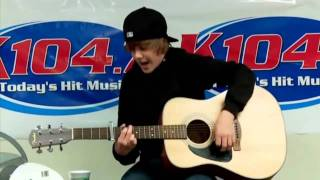 "Justin Bieber singing ""One Time"" Acoustic -  Live at K104.7 [HD]"