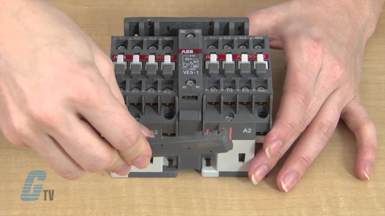 how to assemble a mechanically interlocked and reversing contactor from abb s a line series youtube [ 1280 x 720 Pixel ]