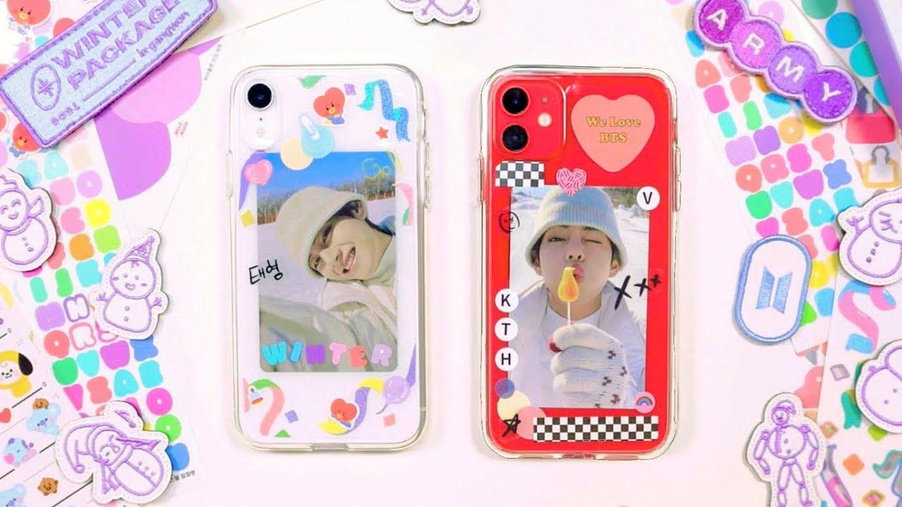 2021 방탄소년단 윈터패키지 언박싱하고 포토카드로 폰케이스 꾸미기 Unboxing 2021 BTS Winter Package DIY phone case with photocard