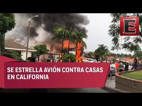 Último minuto: Avión se estrella en vecindario de California