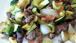 Quick Beef Garlic Ginger & Summer Vegetable Saute' Rice 2/2 Chef John The Ghetto Gourmet