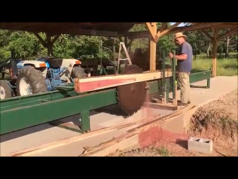 Finish Up Triple T Ranch & Sawmill 2017 using a tractor to power the mill.