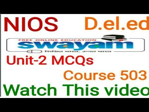 Mcqs Unit-2 Course 503 D.el.ed online learning