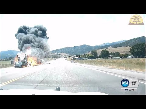 UHP dash cam  shows violent impact of fiery crash in Cache County