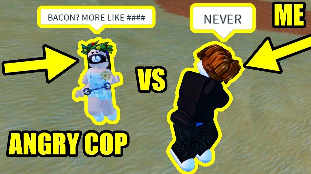 Best Bacon Hair Cops In Jailbreak Roblox Jailbreak W Rich Bacon Hair Vs Overconfident Cop Roblox Jailbreak Youtube