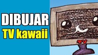 como dibujar una televisión kawaii / how to draw a kawaii TV