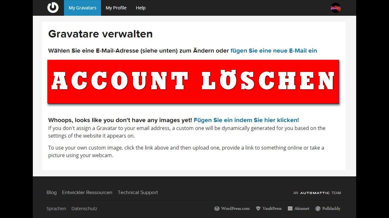 Account Löschen Link gravatar account löschen