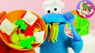 Play Doh Maszyna do robienia makaronu - test z Ciasteczkowym Potworem