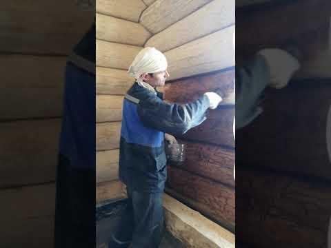 Отделка домов из рубленного бревна. Покраска сруба маслом Biofa