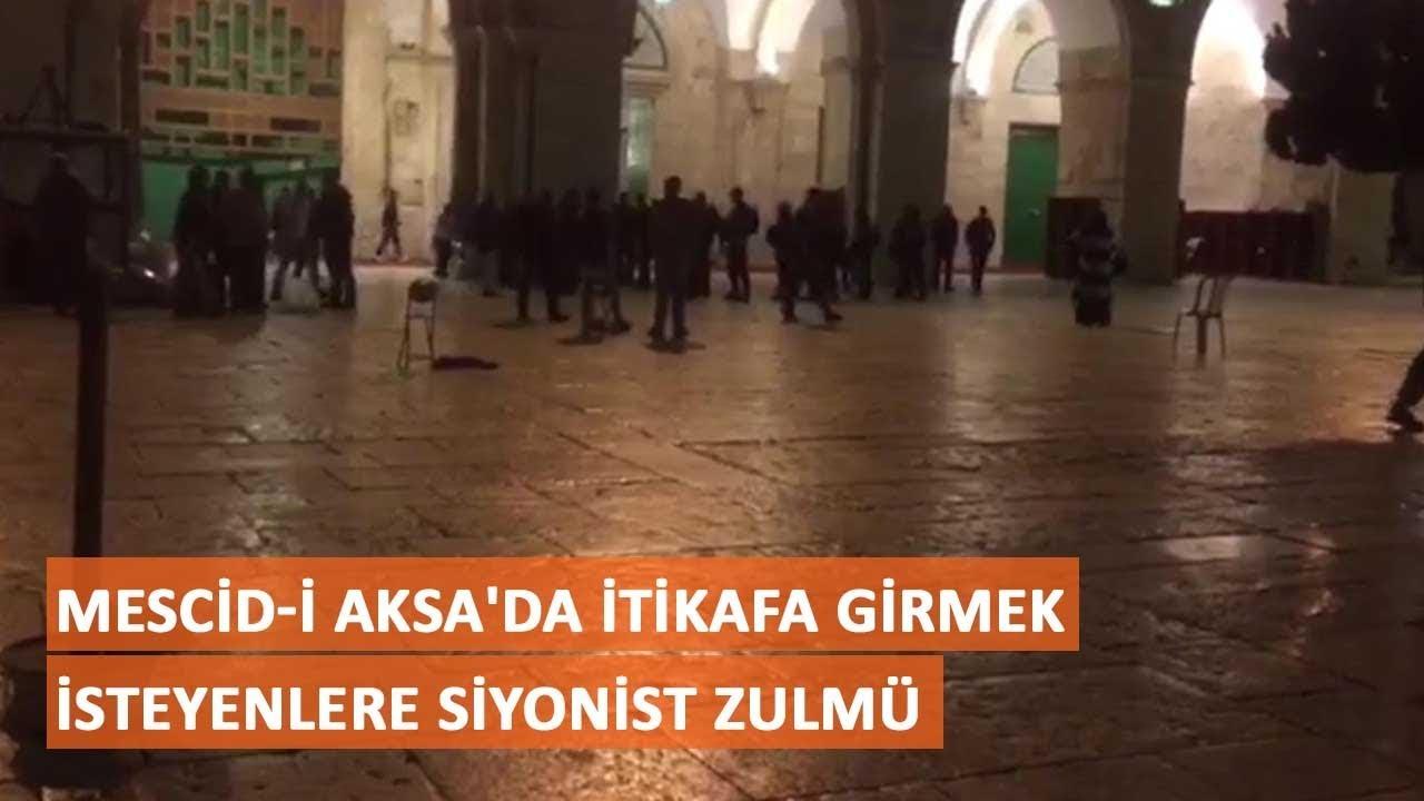 Mescid-i Aksa'da itikafa girmek isteyenlere siyonist zulmü - YouTube