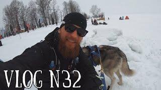 Пробежал зимний марафон с собакой. Забег по замерзшему озеру Валдай.