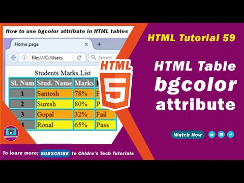 HTML video tutorial - 59 - html table bgcolor attribute