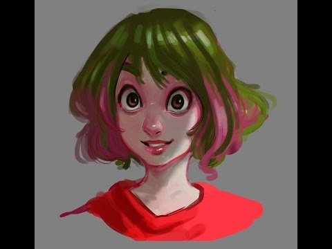 basic digital painting.. portrait in cartoon style