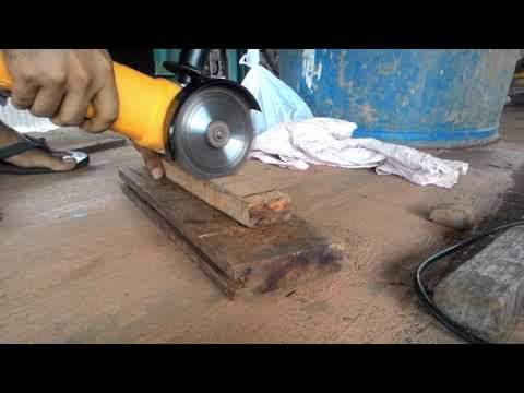 Angle grinder dangerous kick back video  dont use it for wood cutting