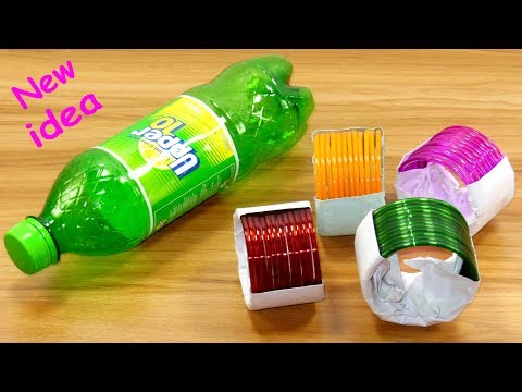 waste plastic bottle & old bangles craft idea   best out of waste   plastic bottle reuse idea