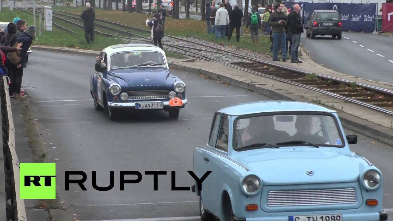 Germany Trabant Cars Race Around Berlin On Wall Anniversary Youtube