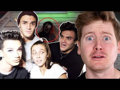 Reacting to HAUNTED HOUSE ft. James Charles & Emma Chamberlain by the Dolan Twins (Sister Squad) thumbnail