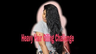 Heavyy Hair Oil Challenge 100ml||Full Hair Drenched ||Using Parachute Coconut oil||Requested Video