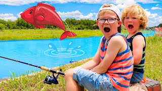 Kids Pretend Play Going Fishing with Kids Toys! 🐠