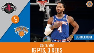Derrick Rose's Full Game Highlights: 16 PTS, 3 REBS vs Rockets | 20-21 NBA Season | 02/13/2021