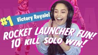Valkyrae Rocket Launcher fun! 10 Kill Solo Win! Full match - Fortnite Battle Royale