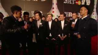 On the Red Carpet: Rizzle Kicks talk to One Direction | BRITs 2013