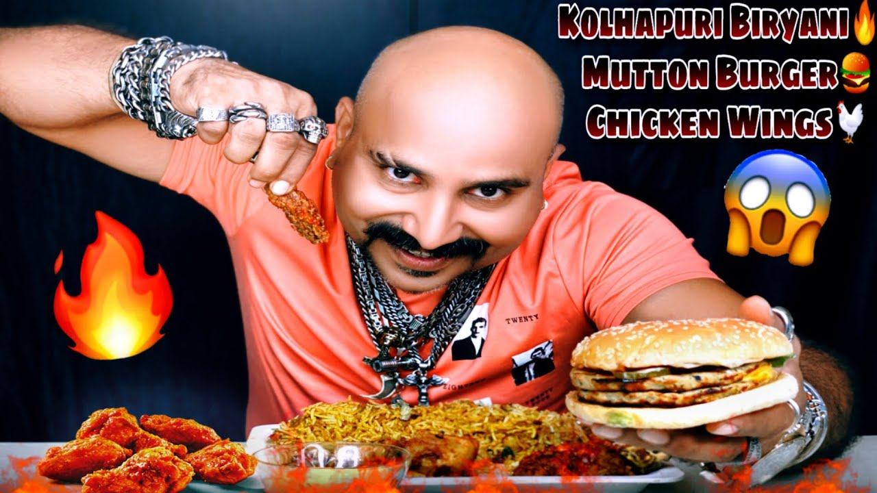 Eating Mutton Burger, Chicken Wings, Kolhapuri Biryani | Ulhas Kamathe | Chicken Leg Piece