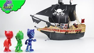 PJ Masks encounters huge PIRATE SHIP | Playmobil pirates toys action for kids playtime