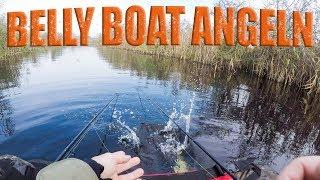 Graben Hechte angeln vom Belly Boat im Winter in kleinen Gräben! Winterhechte fangen!